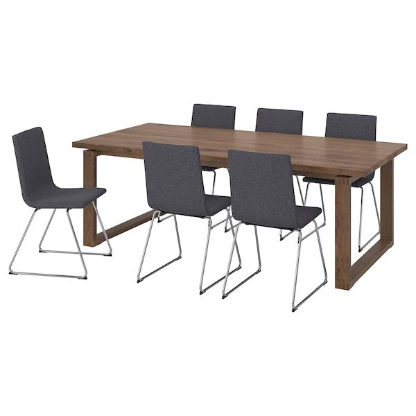 MÖRBYLÅNGA / VOLFGANG Table and 6 chairs, brown/Gunnared medium grey, 220x100 cm