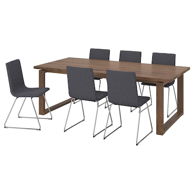 MÖRBYLÅNGA / VOLFGANG Table and 6 chairs, brown/Gunnared medium grey, 220x100 cm