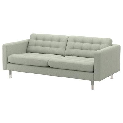MORABO 3-seat sofa, Gunnared light green/metal
