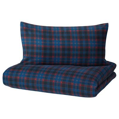 MOSSRUTA Duvet cover and pillowcase(s), dark blue/check, King