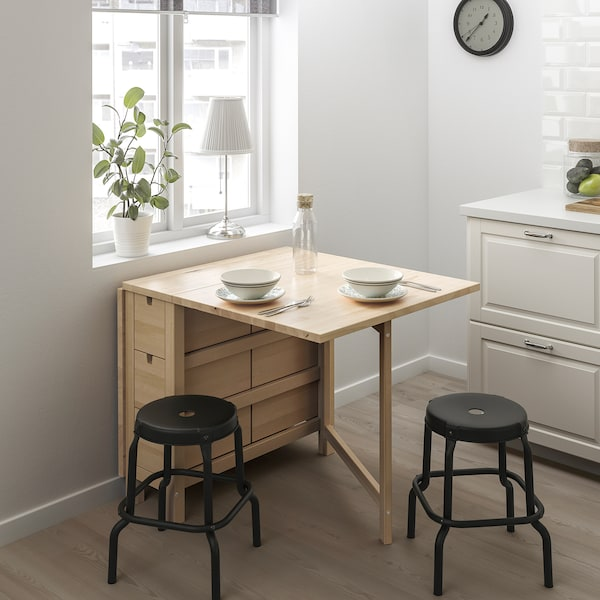 NORDEN / RÅSKOG Table and 2 stools, birch/black, 89/152 cm