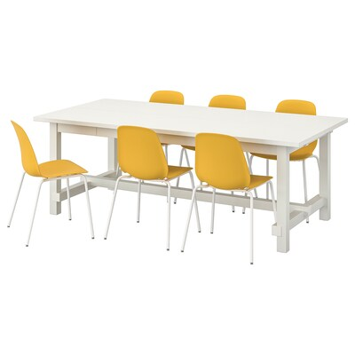 NORDVIKEN / LEIFARNE Table and 6 chairs, white/dark yellow white, 210/289x105 cm
