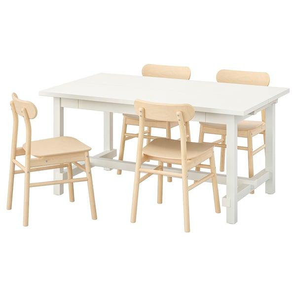 NORDVIKEN / RÖNNINGE Table and 4 chairs, white/birch, 152/223x95 cm