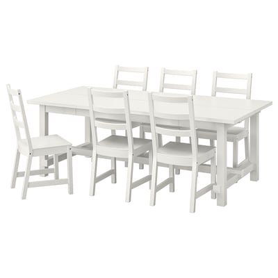 NORDVIKEN / NORDVIKEN Table and 6 chairs, white/white, 210/289x105 cm