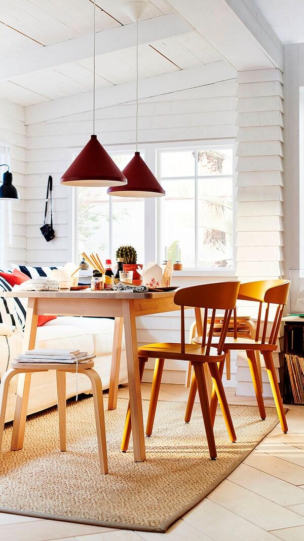 NORRÅKER Table, birch, 125x74 cm