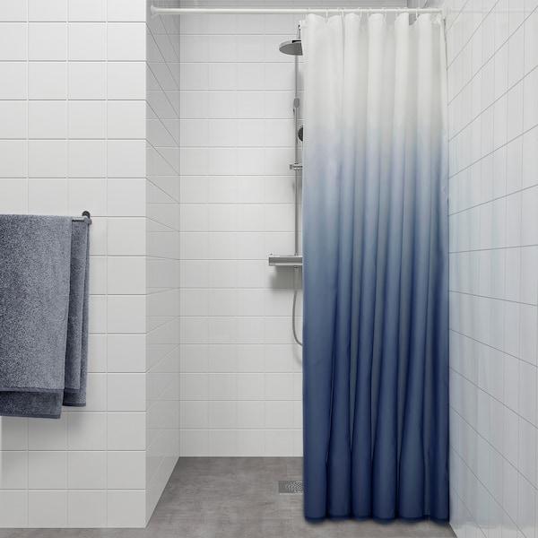 NYCKELN Shower curtain, white/dark blue, 180x180 cm