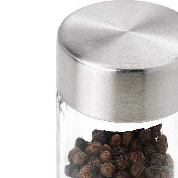 ÖRTFYLLD Spice jar, glass/stainless steel, 10 cl