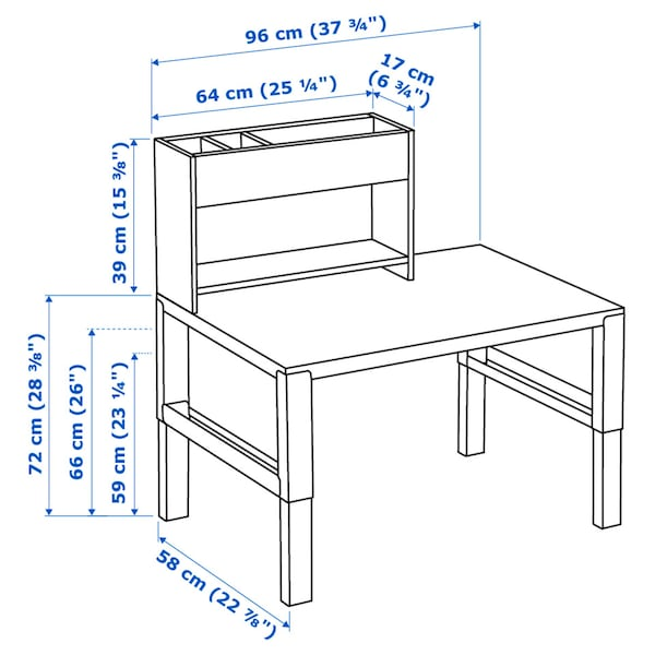 PÅHL Desk with add-on unit, white/green, 96x58 cm
