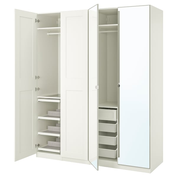 PAX / GRIMO/VIKEDAL Wardrobe combination, white/mirror glass, 200x60x236 cm