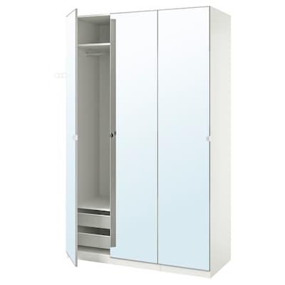 PAX / VIKEDAL Wardrobe combination, white/mirror glass, 150x60x236 cm