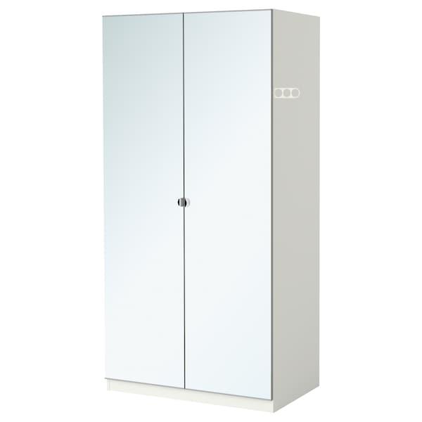 PAX Wardrobe with 2 doors, white/Vikedal mirror glass, 100x38x236 cm