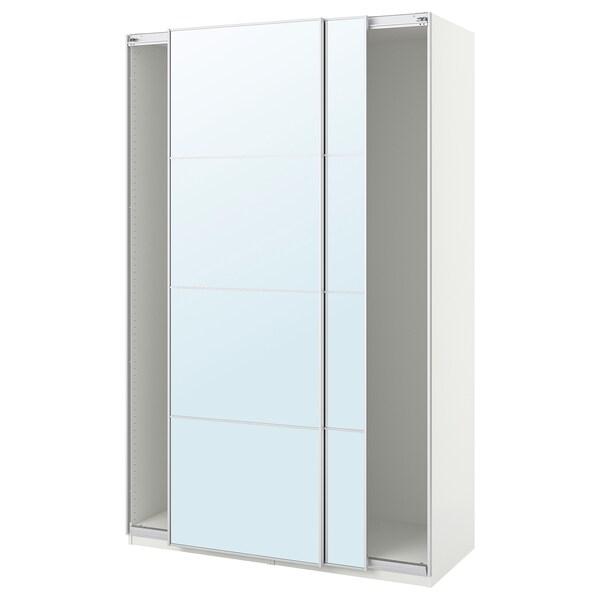 PAX Wardrobe with sliding doors, white/Auli mirror glass, 150x44x236 cm