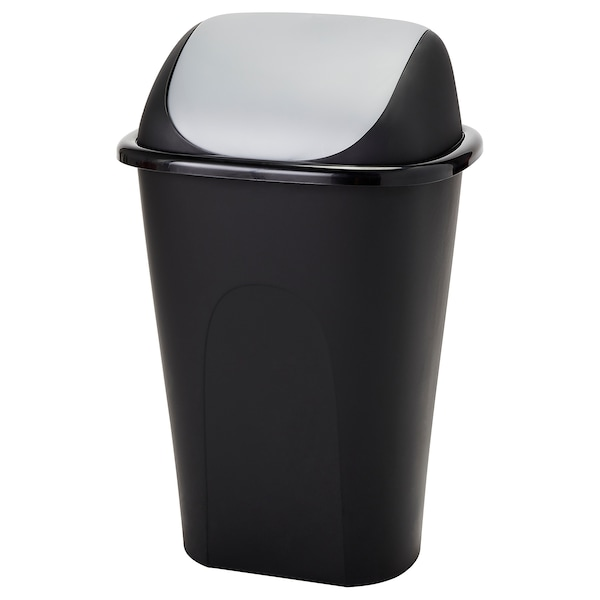 PERSBY Bin with lid, black, 74 cm