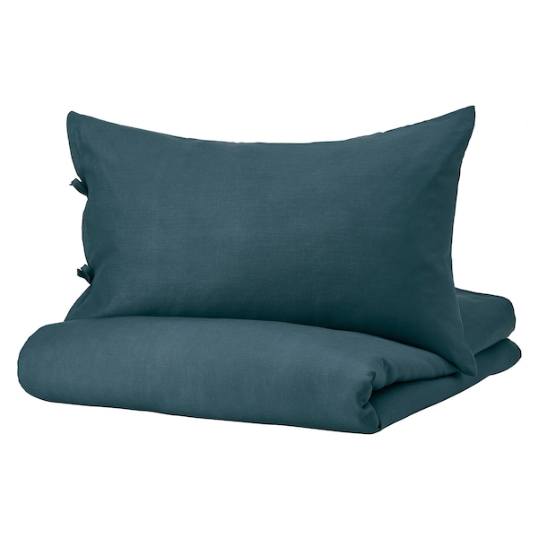 PUDERVIVA Duvet cover and pillowcase(s), dark blue, Full/Queen (Double/Queen)