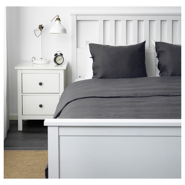 PUDERVIVA Duvet cover and pillowcase(s), dark grey, Full/Queen (Double/Queen)