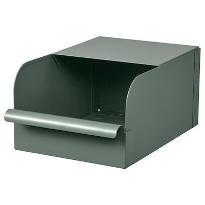 REJSA Box, grey-green/metal, 17.5x25.0x12.5 cm