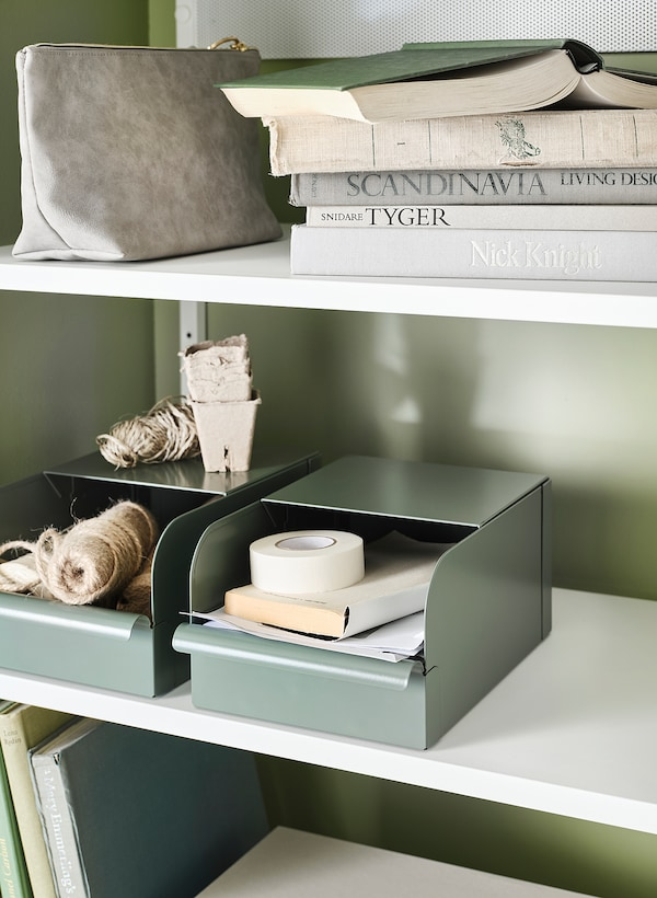 REJSA Box, grey-green/metal, 9x17x7.5 cm
