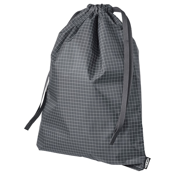 RENSARE Bag, check pattern/black, 30x40 cm/8 l