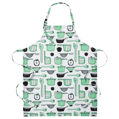 RINNIG Apron, white/green/patterned, 69x85 cm