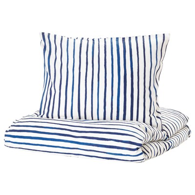 SÅNGLÄRKA Duvet cover and pillowcase, striped/blue white, Twin
