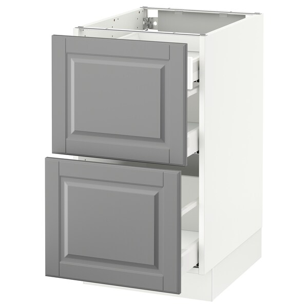 SEKTION Base cab with 2 fronts/3 drawers, white Maximera/Bodbyn grey, 46x61x76 cm
