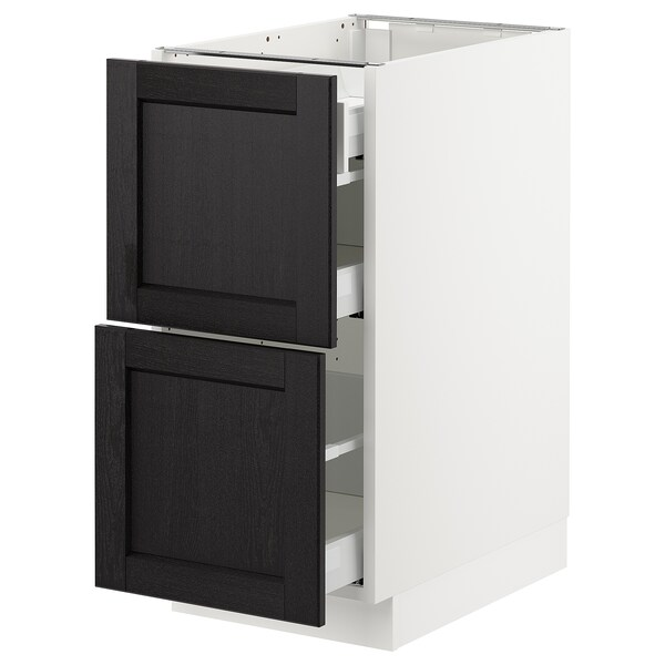 SEKTION Base cab with 2 fronts/3 drawers, white Maximera/Lerhyttan black stained, 38x61x76 cm