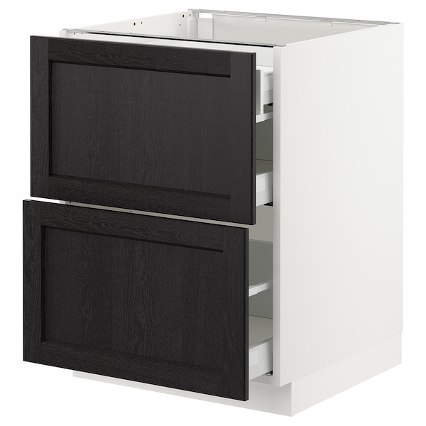 SEKTION Base cab with 2 fronts/3 drawers, white Maximera/Lerhyttan black stained, 61x61x76 cm