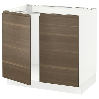 SEKTION Base cabinet for sink + 2 doors, white/Voxtorp walnut effect, 91x61x76 cm