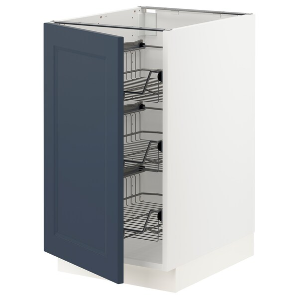 SEKTION Base cabinet with wire baskets, white Axstad/matt blue, 46x61x76 cm