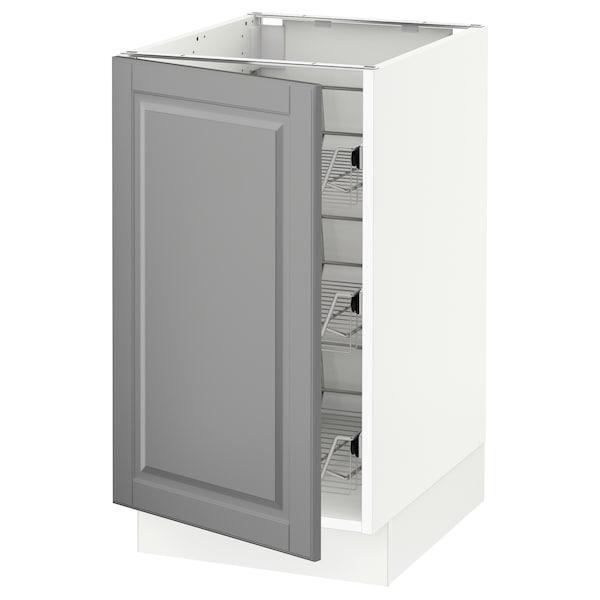 SEKTION Base cabinet with wire baskets, white/Bodbyn grey, 46x61x76 cm