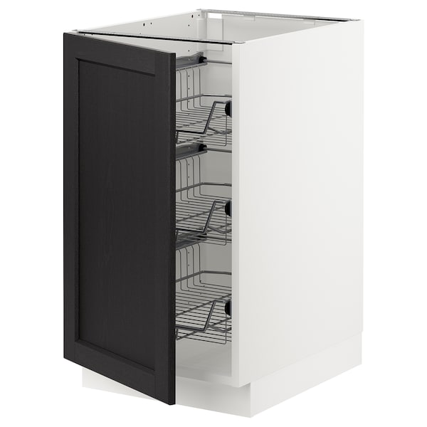 SEKTION Base cabinet with wire baskets, white/Lerhyttan black stained, 46x61x76 cm