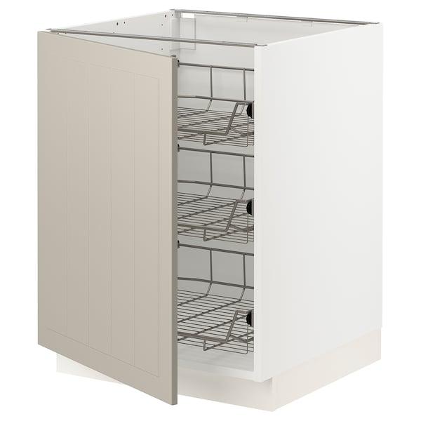 SEKTION Base cabinet with wire baskets, white/Stensund beige, 61x61x76 cm