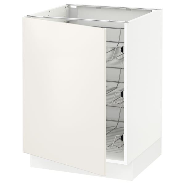 SEKTION Base cabinet with wire baskets, white/Veddinge white, 61x61x76 cm