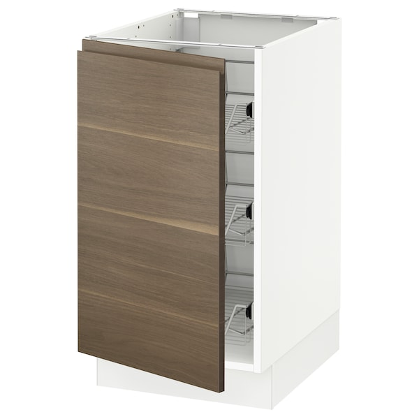 SEKTION Base cabinet with wire baskets, white/Voxtorp walnut effect, 46x61x76 cm