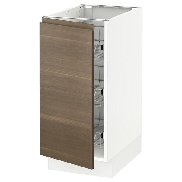 SEKTION Base cabinet with wire baskets, white/Voxtorp walnut effect, 38x61x76 cm