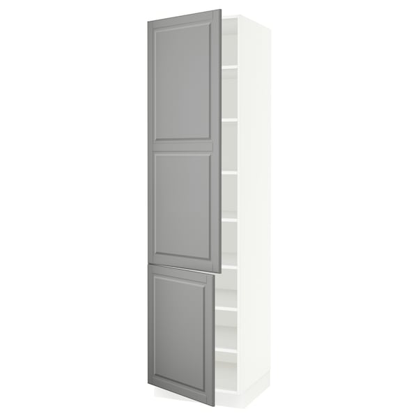 SEKTION High cabinet with shelves/2 doors, white/Bodbyn grey, 61x61x229 cm