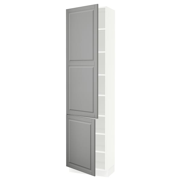 SEKTION High cabinet with shelves/2 doors, white/Bodbyn grey, 61x37x229 cm