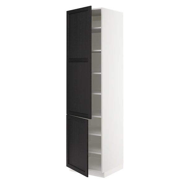SEKTION High cabinet with shelves/2 doors, white/Lerhyttan black stained, 61x61x229 cm