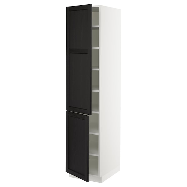 SEKTION High cabinet with shelves/2 doors, white/Lerhyttan black stained, 46x61x203 cm