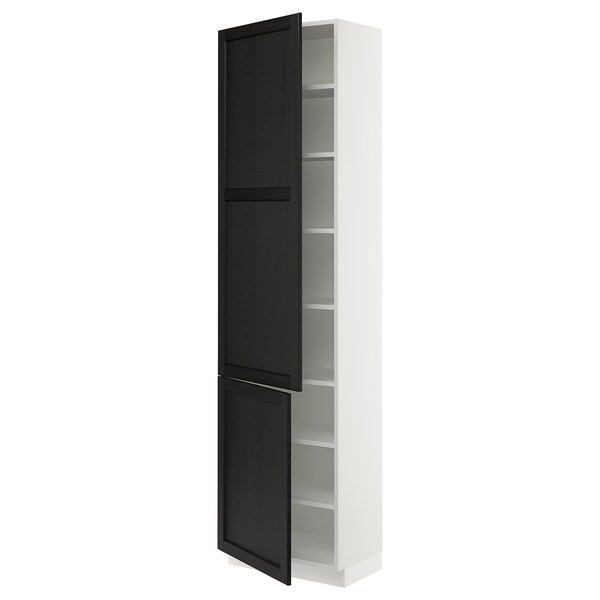 SEKTION High cabinet with shelves/2 doors, white/Lerhyttan black stained, 61x37x229 cm