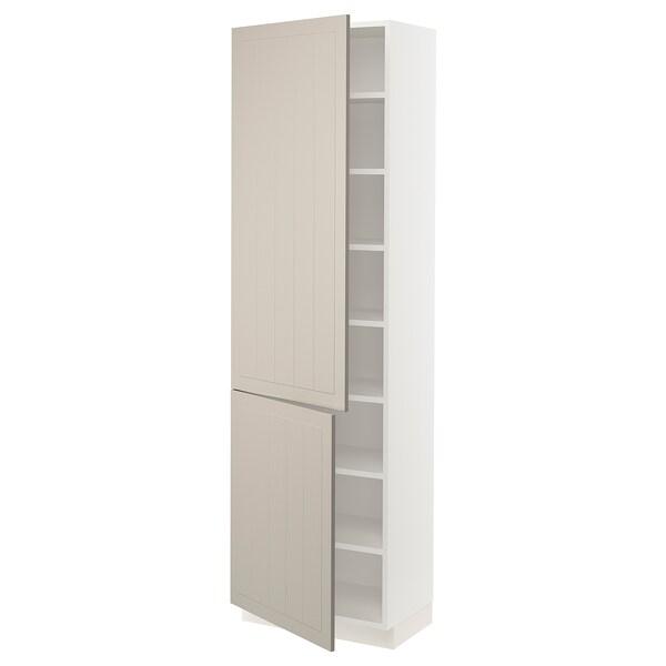 SEKTION High cabinet with shelves/2 doors, white/Stensund beige, 61x37x203 cm
