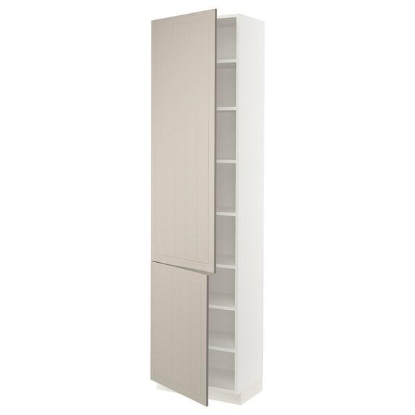 SEKTION High cabinet with shelves/2 doors, white/Stensund beige, 61x37x229 cm