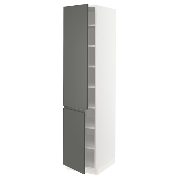 SEKTION High cabinet with shelves/2 doors, white/Voxtorp dark grey, 46x61x203 cm