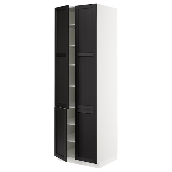 SEKTION High cabinet with shelves/4 doors, white/Lerhyttan black stained, 76x61x229 cm