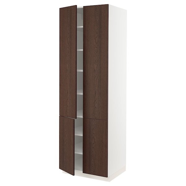 SEKTION High cabinet with shelves/4 doors, white/Sinarp brown, 76x61x229 cm