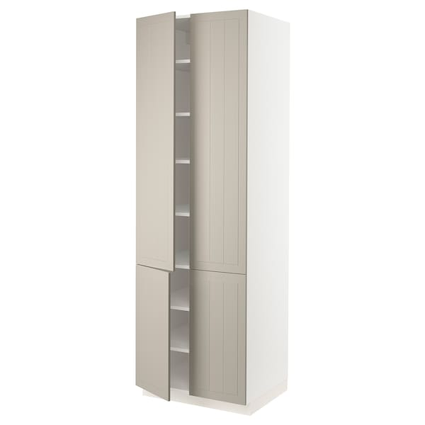 SEKTION High cabinet with shelves/4 doors, white/Stensund beige, 76x61x229 cm