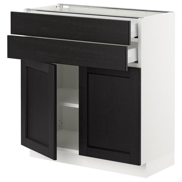 SEKTION / MAXIMERA Base cabinet w 2 doors/2 drawers, white/Lerhyttan black stained, 76x37x76 cm