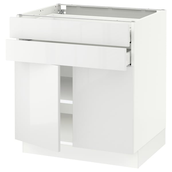 SEKTION / MAXIMERA Base cabinet w 2 doors/2 drawers, white/Ringhult white, 76x61x76 cm