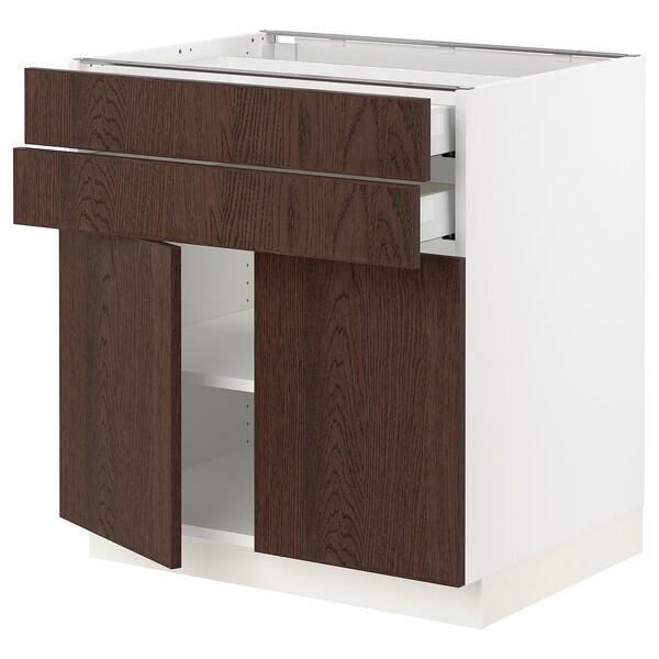 SEKTION / MAXIMERA Base cabinet w 2 doors/2 drawers, white/Sinarp brown, 76x61x76 cm