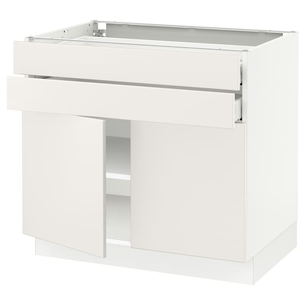 SEKTION / MAXIMERA Base cabinet w 2 doors/2 drawers, white/Veddinge white, 91x61x76 cm